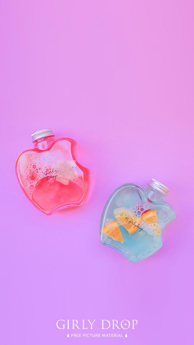 オシャレなiphone壁紙 りんごのボトルドリンクのiphone スマホ 壁紙 おしゃれなフリー写真素材 Girly Drop